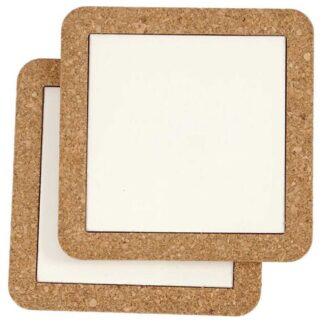 Creative Bordskåner 2-pak - Hvid porcelæn m. kork kant