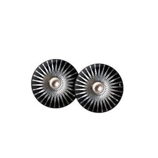 Splash Black Silver Sterling Sølv Ørestikker fra Scherning med Porcelæn