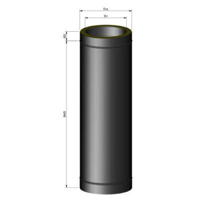 Stålskorsten ø80 isoleret 1000mm