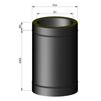 Stålskorsten ø80 isoleret 500mm