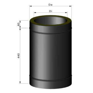 Stålskorsten ø80 isoleret 750mm