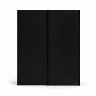 TVILUM Firenze garderobeskab, m. 2 skydelåger - sort folie og spånplade