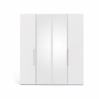 TVILUM Larvik garderobeskab, m. 4 låger - spejlglas og hvid folie
