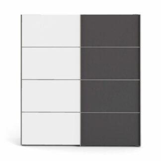 TVILUM Verona garderobeskab, m. 2 skydelåger - hvid og grå folie
