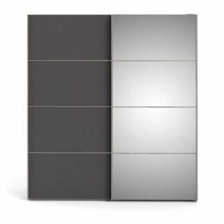 TVILUM Verona garderobeskab, m. 2 skydelåger - spejlglas og grå/hvid folie