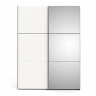 TVILUM Verona garderobeskab, m. 2 skydelåger - spejlglas og hvid folie