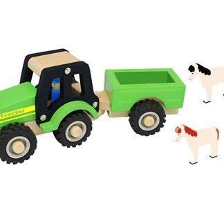 Traktor i træ med anhænger og dyr, gummihjul